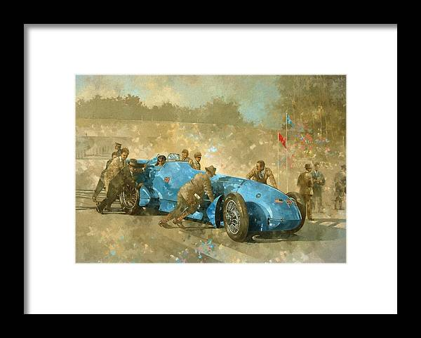 Car; Race Car; Vehicle; Racing; Track; Racetrack; Race Track; Vintage; Racer; Blue; Team; Pushing; Sportscar; Land Speed Test Framed Print featuring the painting Bluebird by Peter Miller