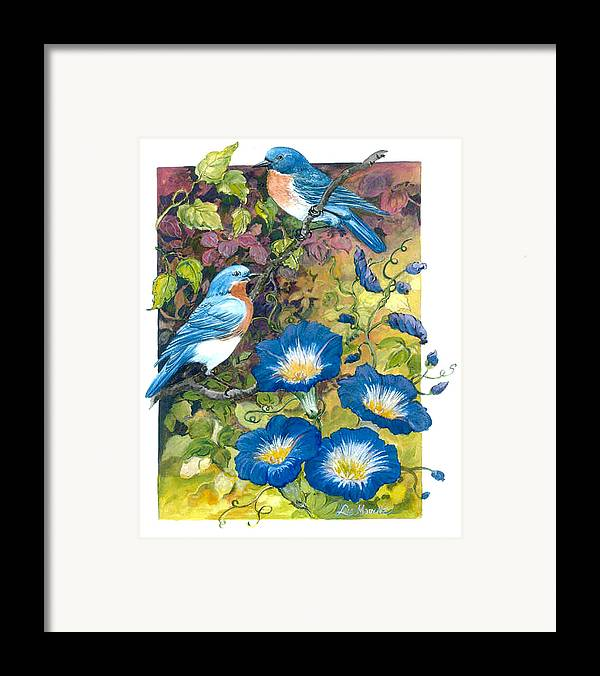 Bluebirds;birds;morning Glories;watercolor; Framed Print featuring the painting Bluebirds And Morning Glories by Lois Mountz