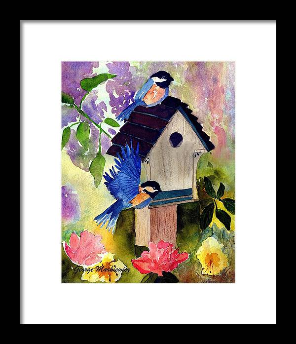 Bluebirds In Springtime Framed Print featuring the print Bluebirds Nesting by George Markiewicz