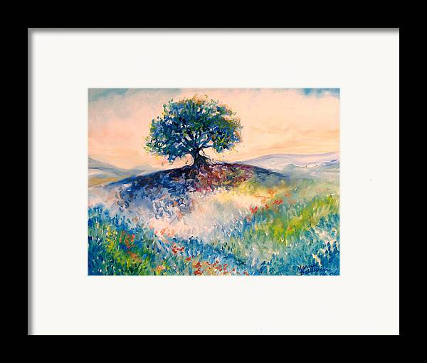 Tree Framed Print featuring the painting Bluebonnet Hill by Marcia Baldwin