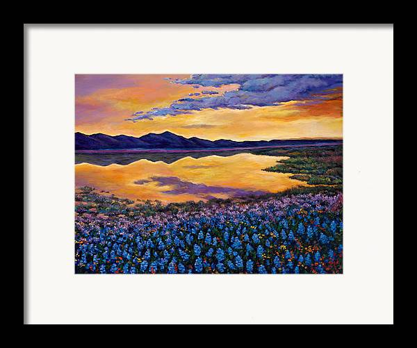 Southwestern Landscape Framed Print featuring the painting Bluebonnet Rhapsody by Johnathan Harris