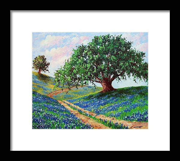 Bluebonnet Framed Print featuring the painting Bluebonnet Road by David G Paul