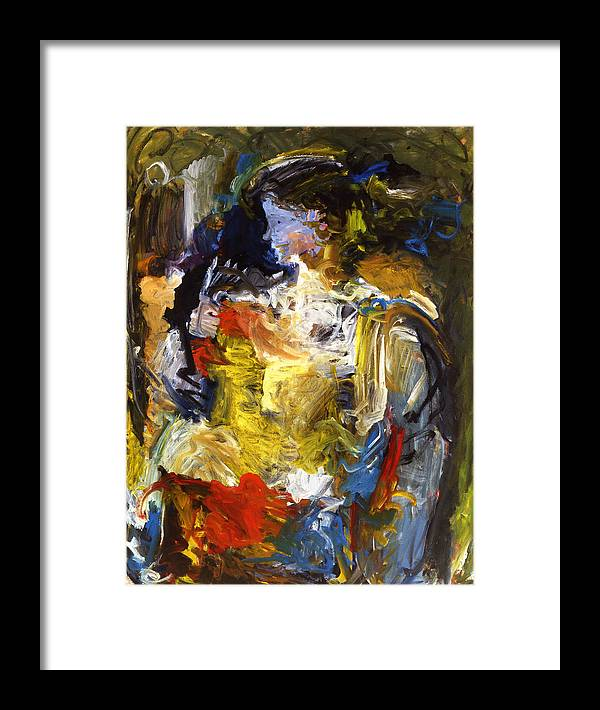 Portret Abstract Blue Face Girl Framed Print featuring the painting Bluefacegirl by Joan De Bot