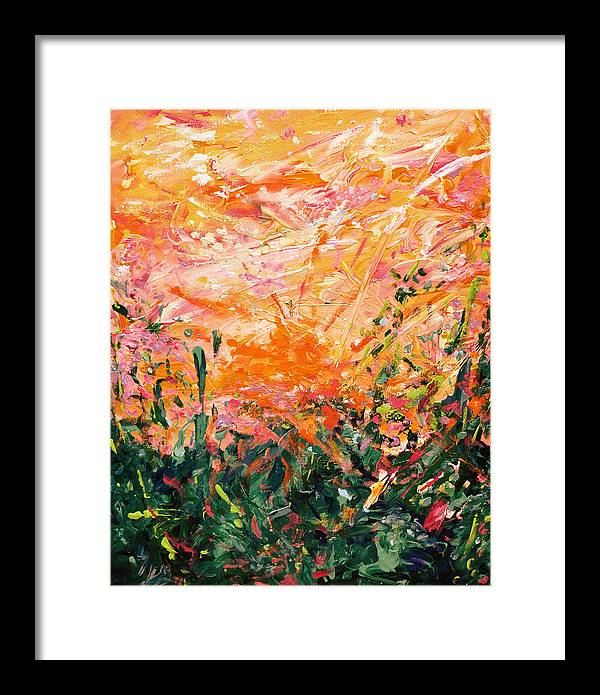 Bluegrass Framed Print featuring the digital art Bluegrass Sunrise - Desert A-left by Julie Turner