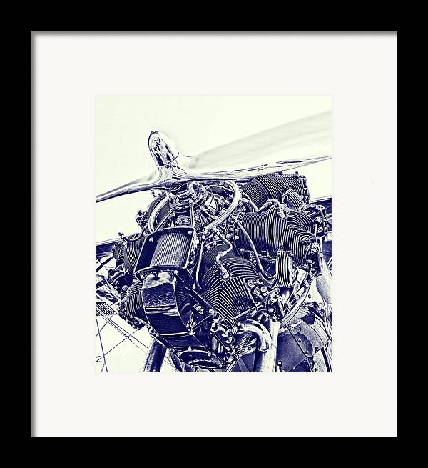 Airplane Framed Print featuring the photograph Blueprint Radial by Steven Richardson