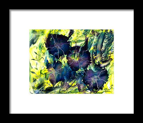 Nature Framed Print featuring the painting Blues Are Born by Heather Hennick