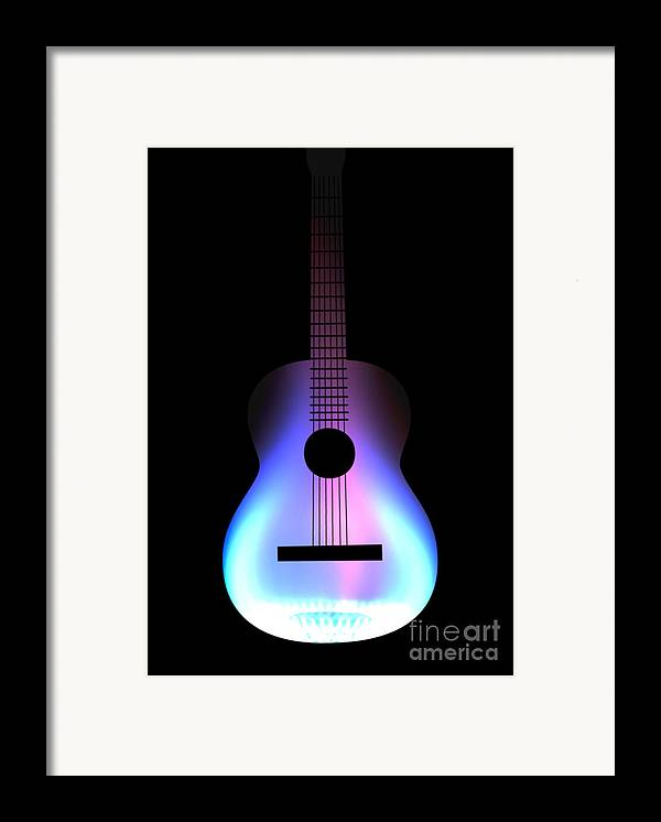 Acoustic Guitar Framed Print featuring the drawing Blues Guitar On Fire by Andy Smy