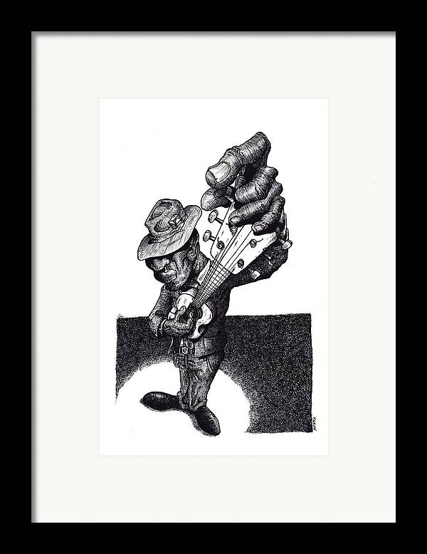 Blues Framed Print featuring the drawing Blues Guitar by Tobey Anderson