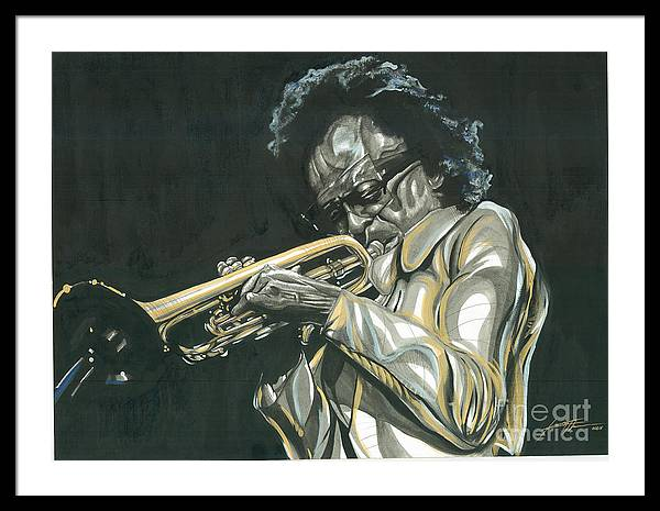 Portrait Framed Print featuring the painting Blues Miles by Keith Thurman