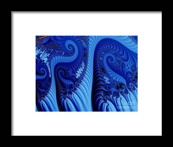 Fractal Art Framed Print featuring the digital art Blues by Ron Bissett
