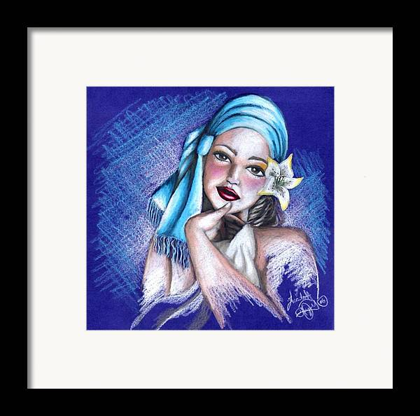 Portrait Framed Print featuring the drawing Blues by Scarlett Royal