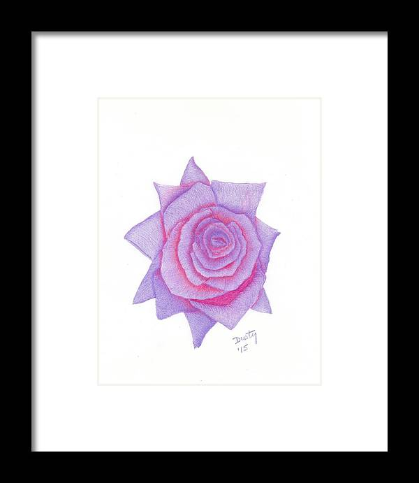 Rose Framed Print featuring the drawing Blushing Blue by Dusty Reed