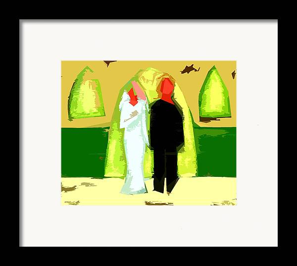 Wedding Framed Print featuring the painting Blushing Bride And Groom 2 by Patrick J Murphy