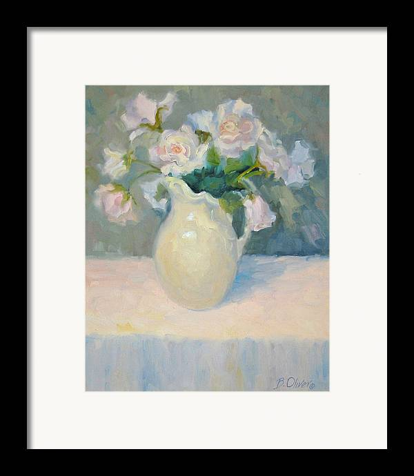 Still Life Framed Print featuring the painting Blushing Roses by Bunny Oliver