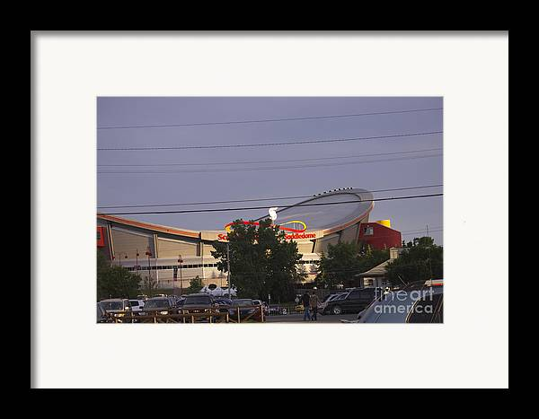 Saddledome Framed Print featuring the photograph Bmo Parking Royal Event by Donna Munro