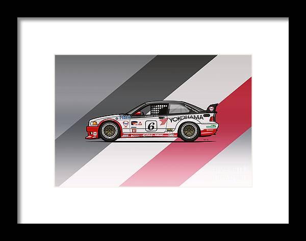 Bmw 3 Series E36 M3 Gts 2 Ptg Race Car Framed Print By Monkey Crisis