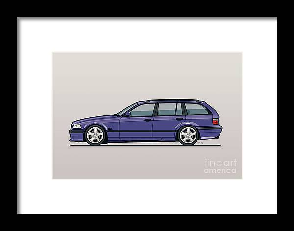 Automotive Art Framed Print featuring the digital art Bmw E36 328i 3-series Touring Wagon Techno Violet by Monkey Crisis On Mars