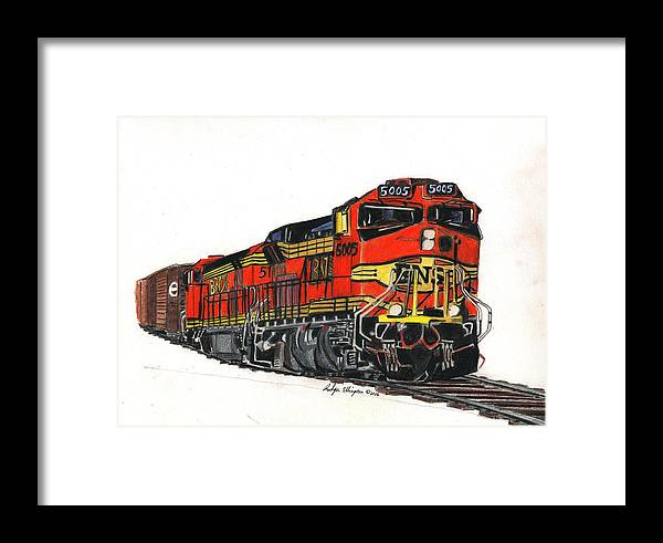 Drawing Framed Print featuring the drawing Bnsf by Rodger Ellingson