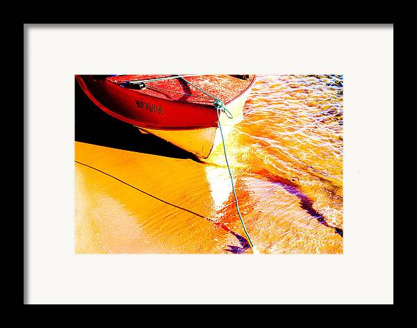 Boat Abstract Yellow Water Orange Framed Print featuring the photograph Boat Abstract by Sheila Smart Fine Art Photography