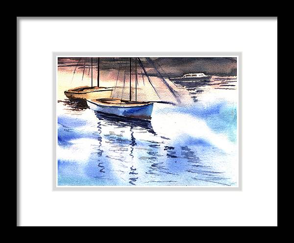 Watercolor Framed Print featuring the painting Boat And The River by Anil Nene