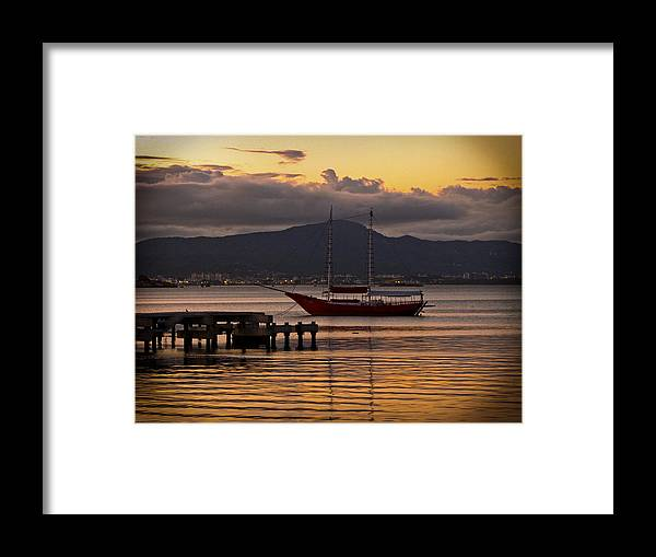 Boat Framed Print featuring the photograph Boat And The Sunset by Andre Panatto