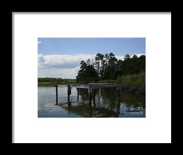 Boat Doc Framed Print featuring the photograph Boat Dock On The Bay by PJ Cloud