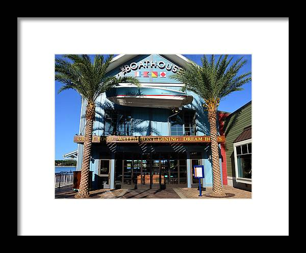 Boathouse Disney Springs Florida Framed Print featuring the photograph Boathouse Front by David Lee Thompson