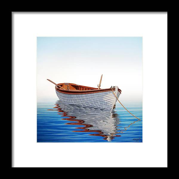 Boat Framed Print featuring the painting Boat In A Serene Sea by Horacio Cardozo