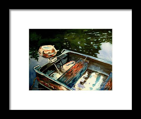 Boat Framed Print featuring the painting Boat In Fog 2 by Marilyn Jacobson
