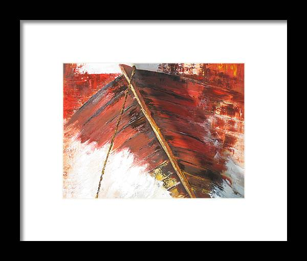 Boat Framed Print featuring the painting 'boat In Storm' by Marina Harris