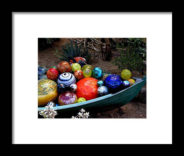Boat Framed Print featuring the photograph Boat Load Of Blown Glass Balls by Jeanette Oberholtzer
