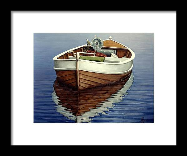 Wooden Boat Framed Print featuring the painting Boat by Natalia Tejera