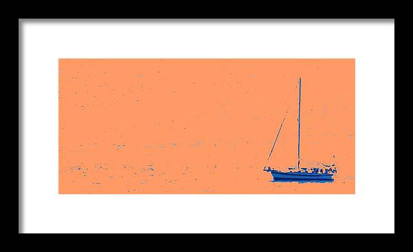 Boat Framed Print featuring the photograph Boat On An Orange Sea by Ian MacDonald