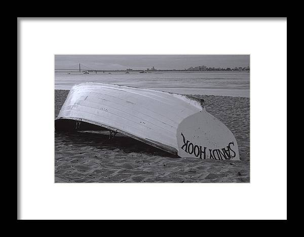 Bay Framed Print featuring the photograph Boat On Sandy Hook Beach New Jersey by George Oze