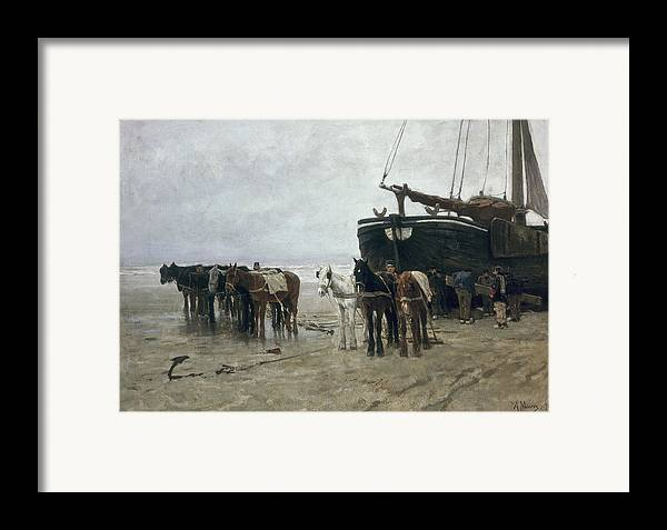 Boat Framed Print featuring the painting Boat On The Beach At Scheveningen by Anton Mauve