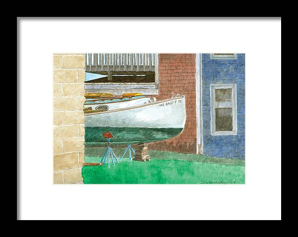 Boat Framed Print featuring the painting Boat Out Of Water - Portland Maine by Dominic White