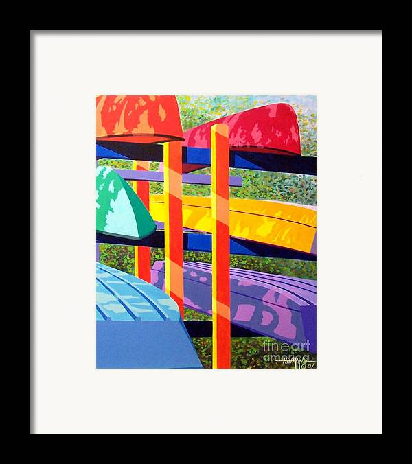 Sunlight Framed Print featuring the painting Boat Rack by Hugh Harris