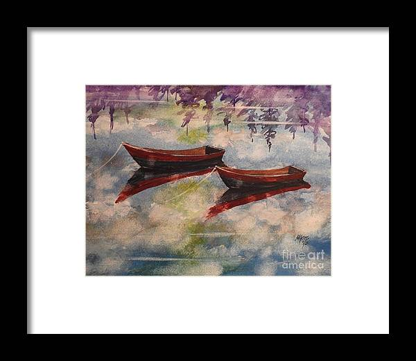 Reflections Framed Print featuring the painting Boat Reflections Watercolor Painting by David K Myers