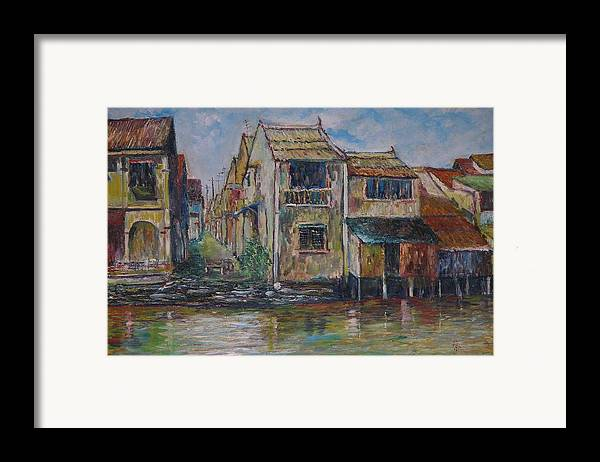 Landscape Framed Print featuring the painting Boat Ride Along The Malacca River by Wendy Chua