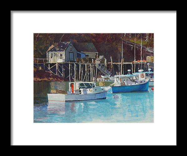 Maine Framed Print featuring the painting Boat Shack by Robert Bissett