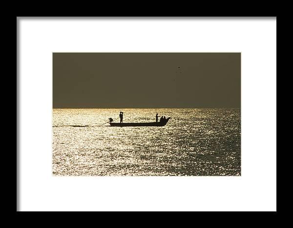 Sea Framed Print featuring the photograph Boat Silhouette In Sunrise At Marina Beach, Chennai by Vasanth Kumar