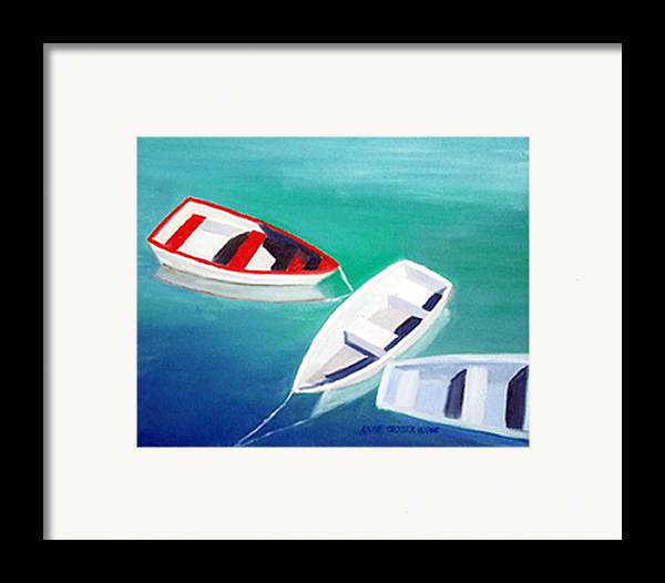 Seascape Framed Print featuring the print Boat Trio by Anne Trotter Hodge