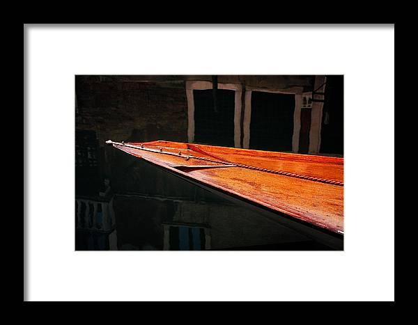 Water Seascape Wood Boats Photographs Canvas Fine Art Wall Art Office Art Italy Venice Framed Print featuring the photograph Boat Venice Italy by Xavier Cardell
