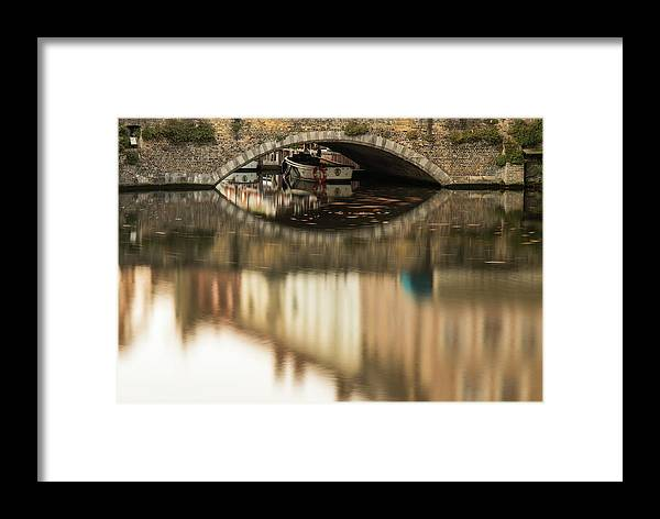 Flanders Framed Print featuring the photograph Boat Waddling On Water Channels Of Bruges, Belgium by Dalibor Hanzal