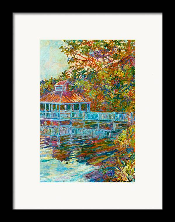 Mountain Lake Framed Print featuring the painting Boathouse At Mountain Lake by Kendall Kessler