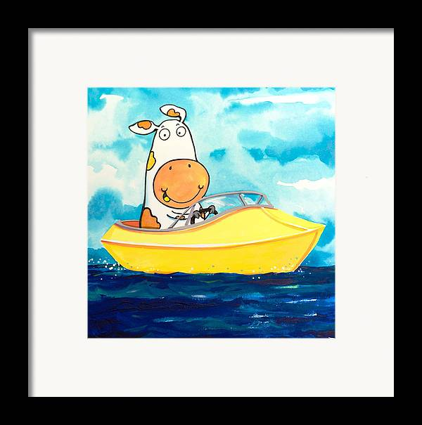 Cow Framed Print featuring the painting Boating Cow by Scott Nelson