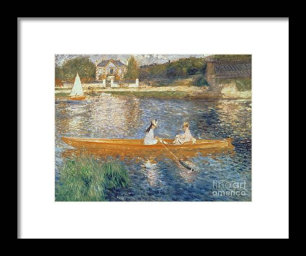 Boating On The Seine Framed Print featuring the painting Boating on the Seine by Pierre Auguste Renoir