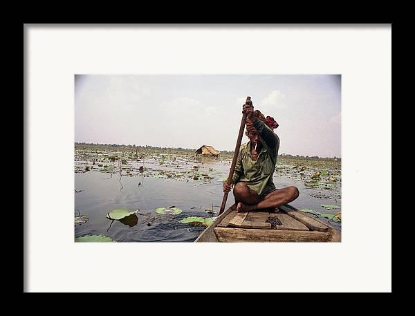 Cambodia Framed Print featuring the photograph Boatman - Battambang by Patrick Klauss