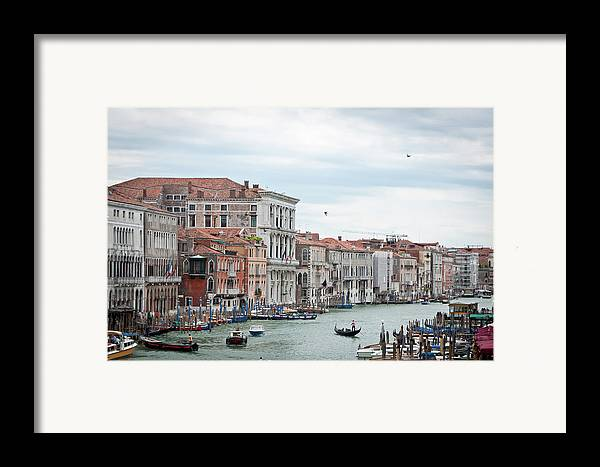 Horizontal Framed Print featuring the photograph Boats And Gondolas In Grand Canal by AlexandraR