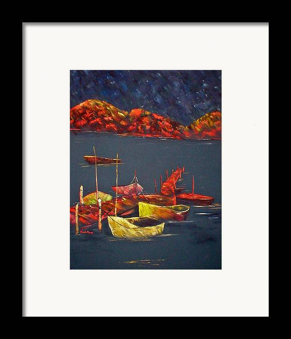 Boat Framed Print featuring the painting Boats At Nightfall by Rhonda Myers